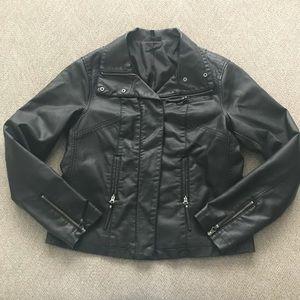 APT 9 Black faux leather jacket sz M